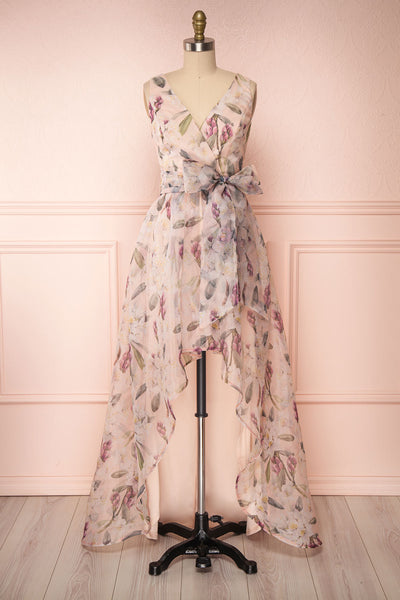 Saundra Blush Pink Floral High-Low Maxi Dress | Boutique 1861