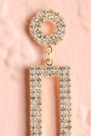 Shoelcher Gold Statement Crystal Pendant Earrings close-up | Boutique 1861