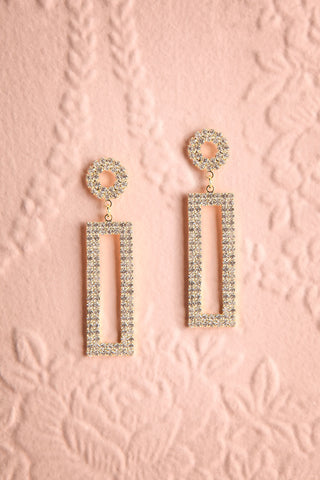 Shoelcher Gold Statement Crystal Pendant Earrings | Boutique 1861