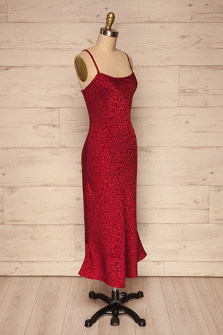 Seefeld Cerise Red Leopard Print Slip Dress side view | La Petite Garçonne