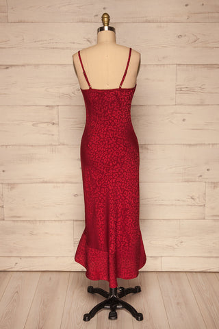 Seefeld Cerise Red Leopard Print Slip Dress back view | La Petite Garçonne