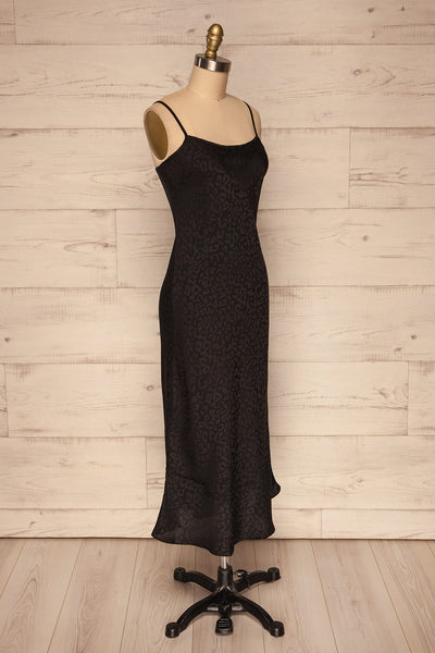 Seefeld Mure Black Leopard Print Slip Dress side view | La Petite Garçonne