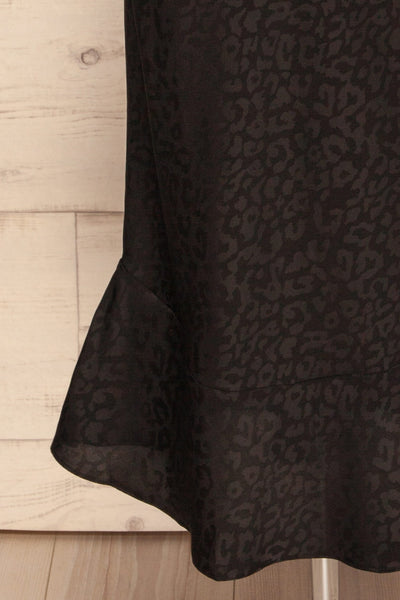 Seefeld Mure Black Leopard Print Slip Dress skirt close up | La Petite Garçonne