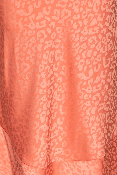 Seefeld Pêche Pink Leopard Print Slip Dress fabric close up | La Petite Garçonne