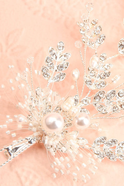 Senja Silver Floral Hair Accessory | Boudoir 1861 close-up