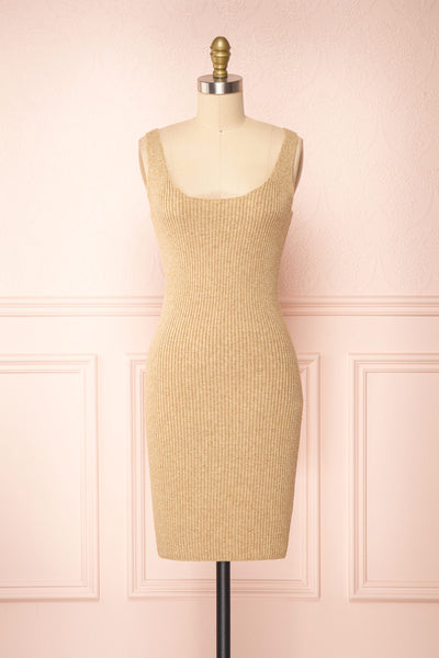 Set Cilia Beige Cardigan & Fitted Midi Dress | Boutique 1861  front view
