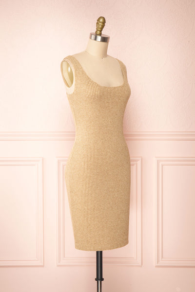 Set Cilia Beige Cardigan & Fitted Midi Dress | Boutique 1861 side view