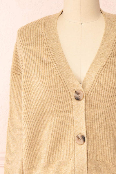 Set Cilia Beige Cardigan & Fitted Midi Dress | Boutique 1861  top front close-up