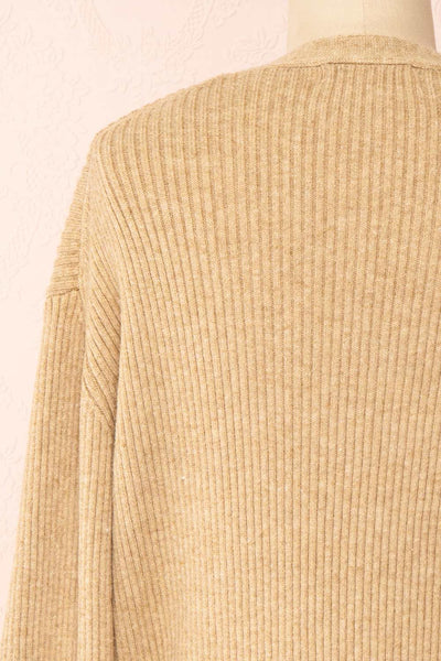 Set Cilia Beige Cardigan & Fitted Midi Dress | Boutique 1861  top back close-up