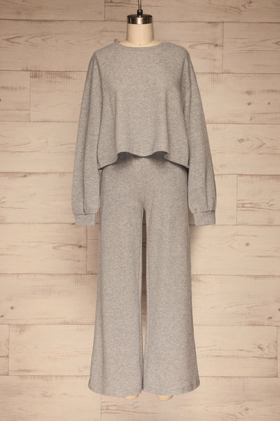 Set Flauro Grey Crop Top & Pants | La petite garçonne front view