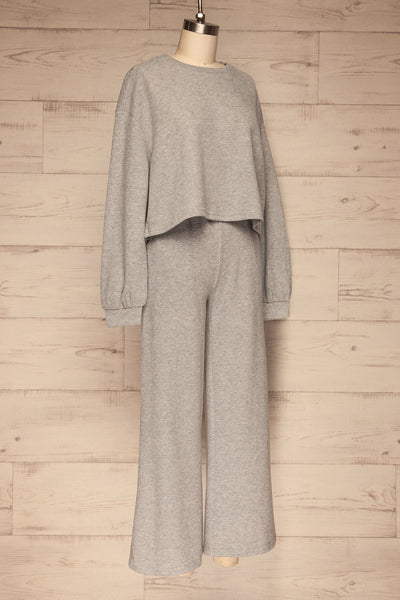 Set Flauro Grey Crop Top & Pants | La petite garçonne side view