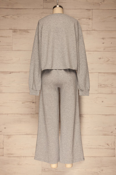 Set Flauro Grey Crop Top & Pants | La petite garçonne back view