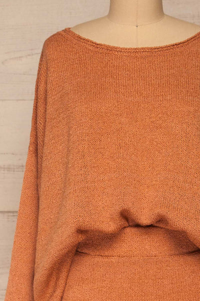 Set Lubin Clay Knitted Top & Skirt Set | La petite garçonne front close-up tuck in