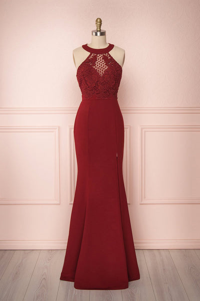 Sevilay Burgundy Fitted Gown with Crocheted Lace | Boudoir 1861