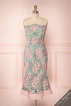 Seyma Mint Green & Lilac Floral Fitted Cocktail Dress | Boutique 1861