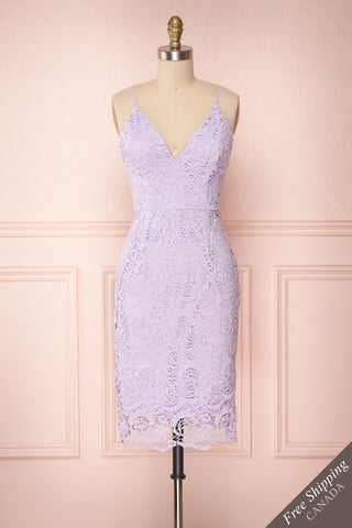 Shakti Lilac Lace Fitted Cocktail Dress | Boutique 1861