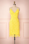 Shakti Yellow Lace Fitted Cocktail Dress | Boutique 1861