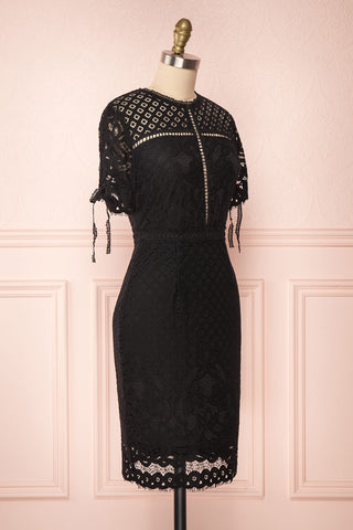 Shalonda Black Lace Cocktail Dress | Robe side view | Boutique 1861