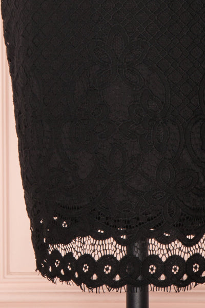 Shalonda Black Lace Cocktail Dress | Robe skirt close up | Boutique 1861