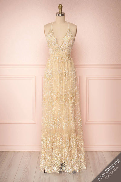 Sharidan Ivory Beige & Gold Glitter Mesh Maxi Dress | Boutique 1861 front view