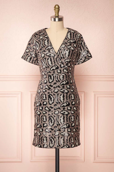 Sharmaine Bronze Leopard Print Sequin Party Dress front view | Boutique 1861