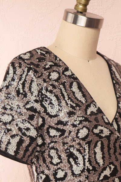 Sharmaine Bronze Leopard Print Sequin Party Dress side close up | Boutique 1861