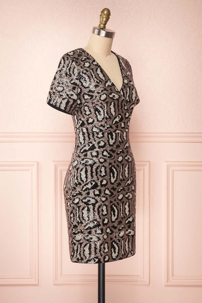 Sharmaine Bronze Leopard Print Sequin Party Dress side view | Boutique 1861