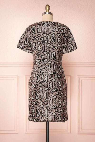 Sharmaine Bronze Leopard Print Sequin Party Dress back view | Boutique 1861