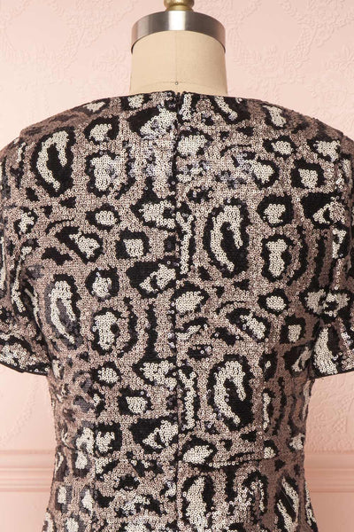 Sharmaine Bronze Leopard Print Sequin Party Dress back close up | Boutique 1861