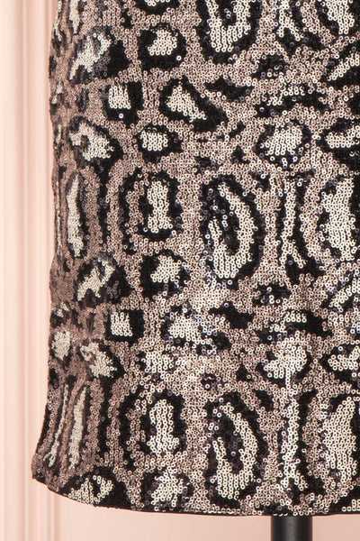 Sharmaine Bronze Leopard Print Sequin Party Dress skirt close up | Boutique 1861