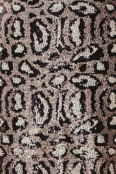 Sharmaine Bronze Leopard Print Sequin Party Dress fabric detail | Boutique 1861