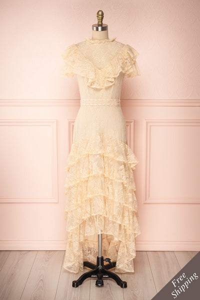 Sheephanie Beige Lace Ruffled Bridal Dress | Boudoir 1861 front view