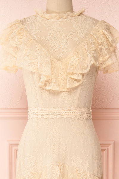 Sheephanie Beige Lace Ruffled Bridal Dress | Boudoir 1861 front close-up