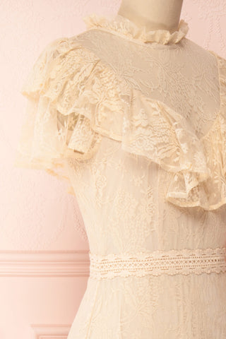 Sheephanie Beige Lace Ruffled Bridal Dress | Boudoir 1861 side close-up