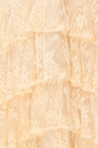 Sheephanie Beige Lace Ruffled Bridal Dress | Boudoir 1861 fabric detail