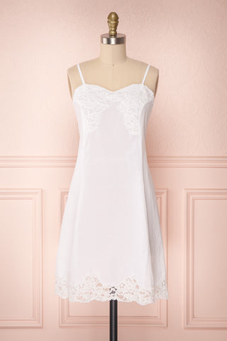 Shenden Short White Summer Slip Dress with Lace | Boutique 1861