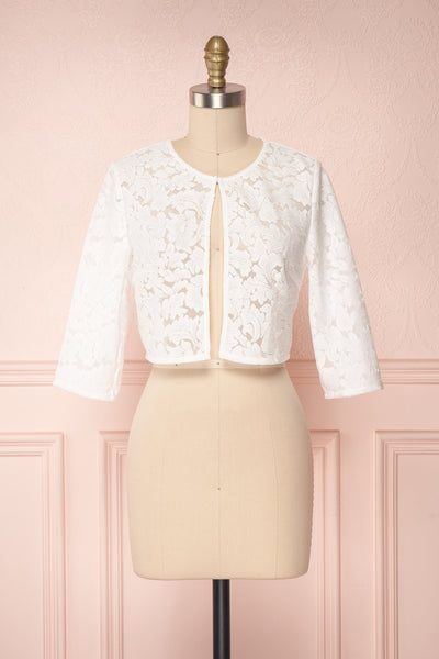 Shifumi White Lace Crop Jacket | Boudoir 1861 1