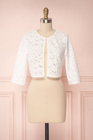 Shifumi White Lace Crop Jacket | Boudoir 1861