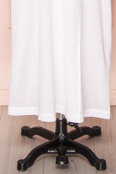 Shihoka White Cotton Kimono with Stripes & Embroidery | Boutique 1861 9