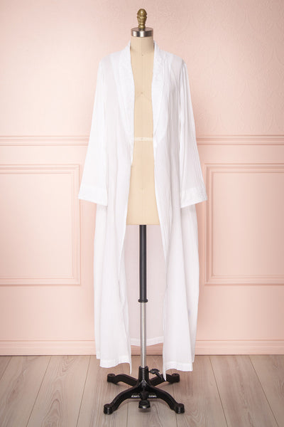 Shihoka White Cotton Kimono with Stripes & Embroidery | Boutique 1861 3