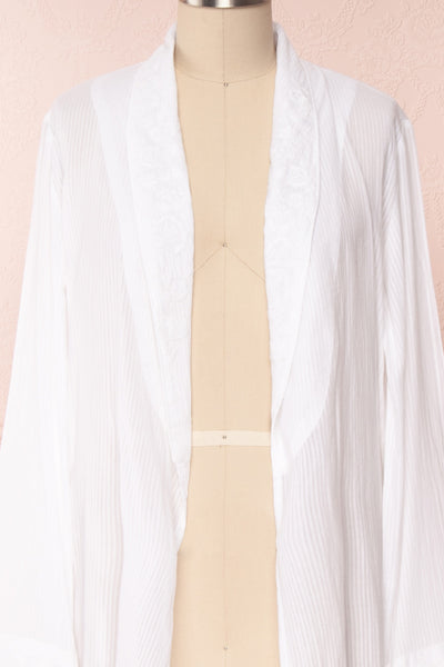 Shihoka White Cotton Kimono with Stripes & Embroidery | Boutique 1861 2