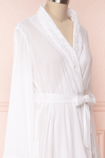 Shihoka White Cotton Kimono with Stripes & Embroidery | Boutique 1861 6