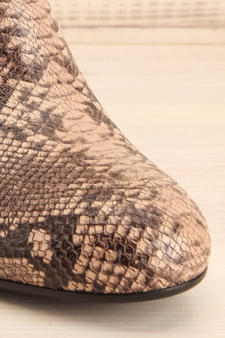 Shilo Python Patterned Ankle Boots with Heel front close-up | La Petite Garçonne
