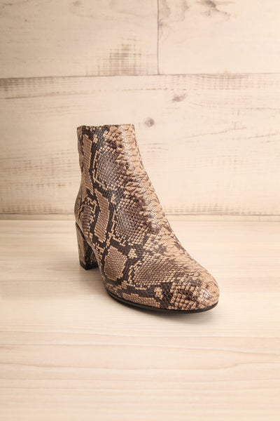 Shilo Python Patterned Ankle Boots with Heel front view | La Petite Garçonne