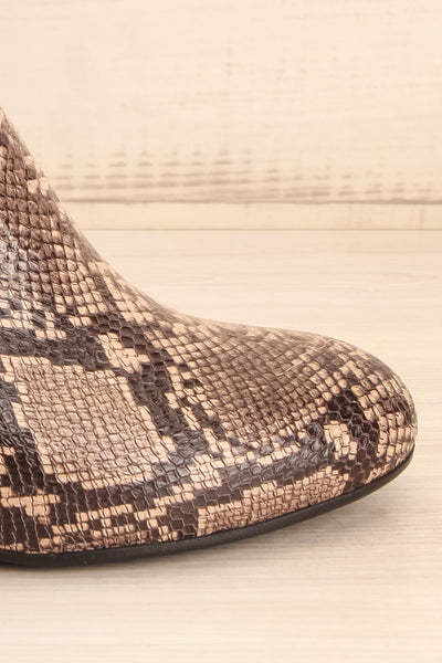 Shilo Python Patterned Ankle Boots with Heel side front  | La Petite Garçonne