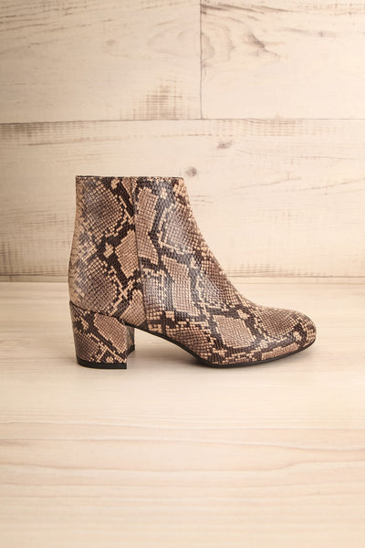 Shilo Python Patterned Ankle Boots with Heel side view | La Petite Garçonne