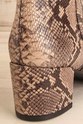 Shilo Python Patterned Ankle Boots with Heel back close-up | La Petite Garçonne