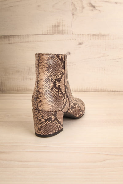 Shilo Python Patterned Ankle Boots with Heel back view | La Petite Garçonne