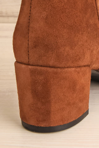 Shilo Tan Brown Suede Ankle Boots with Heel back close-up | La Petite Garçonne