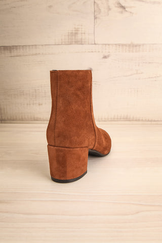 Shilo Tan Brown Suede Ankle Boots with Heel back view | La Petite Garçonne